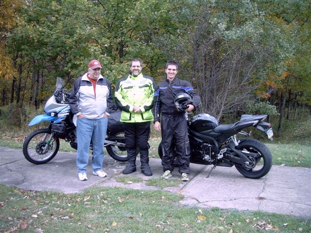 (L to R) Ken (My Step-Dad, Me, my son Scot. Three generations of riders.